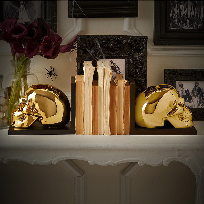 Gold skull bookends